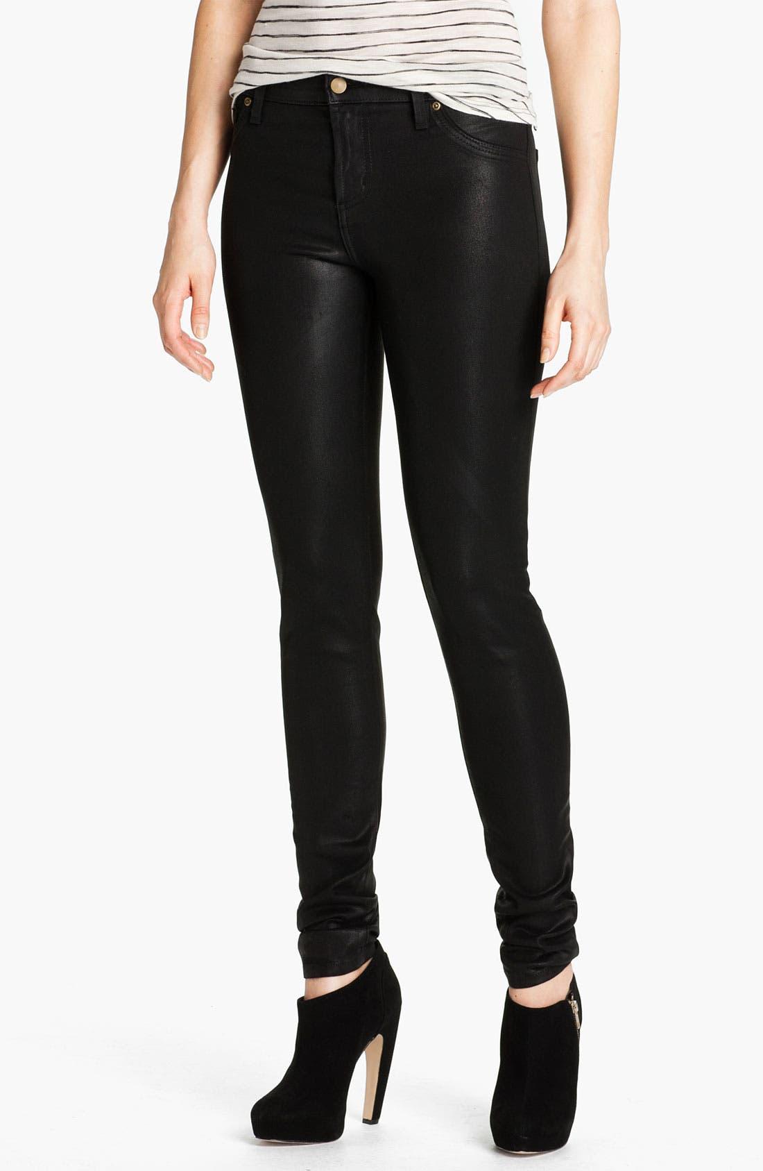 Sarah & George Coated Denim Jeans,                             Main thumbnail 1, color,                             Black