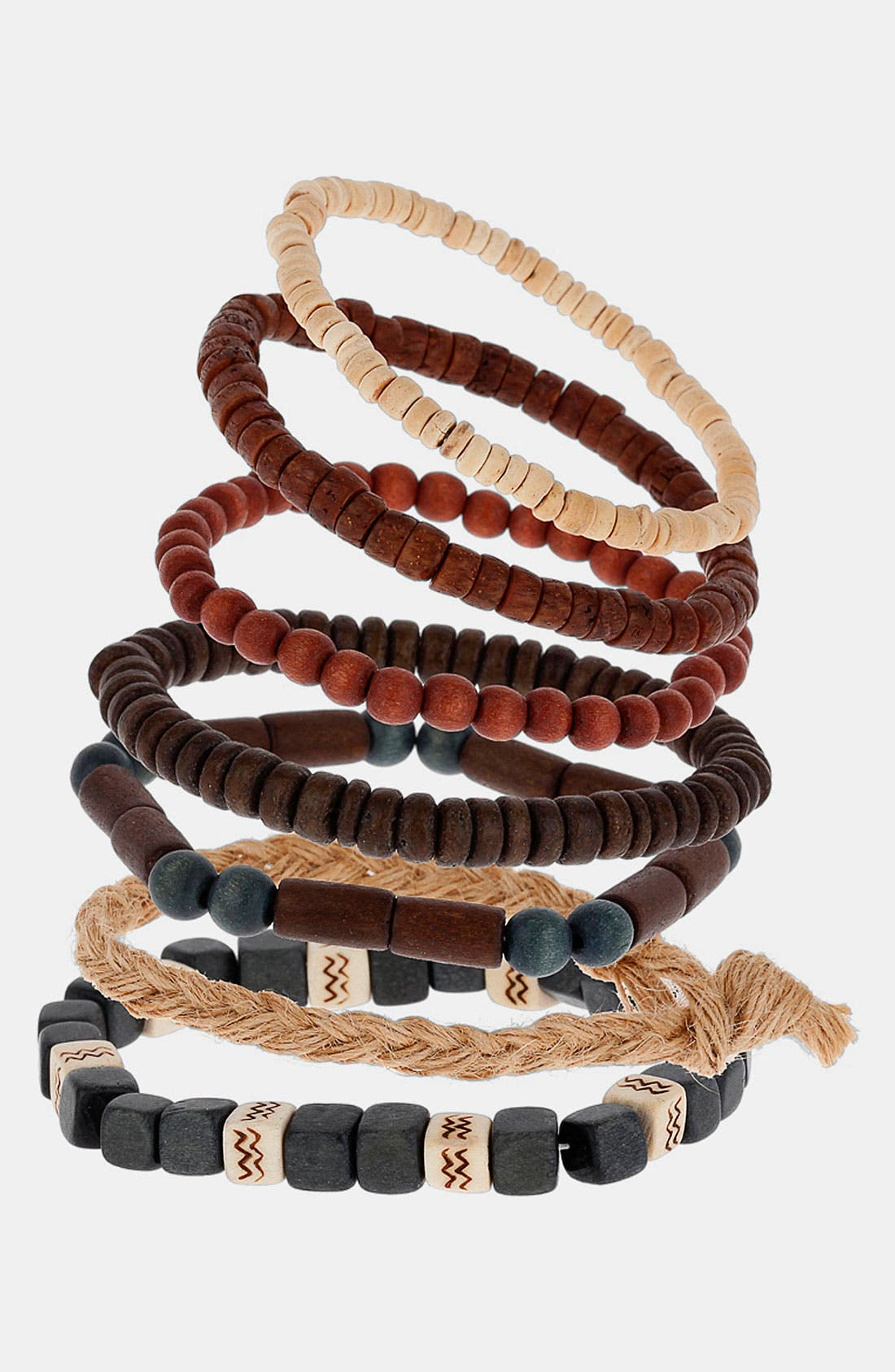 Main Image - Topman Tonal Mixed Bracelets (Set of 7)