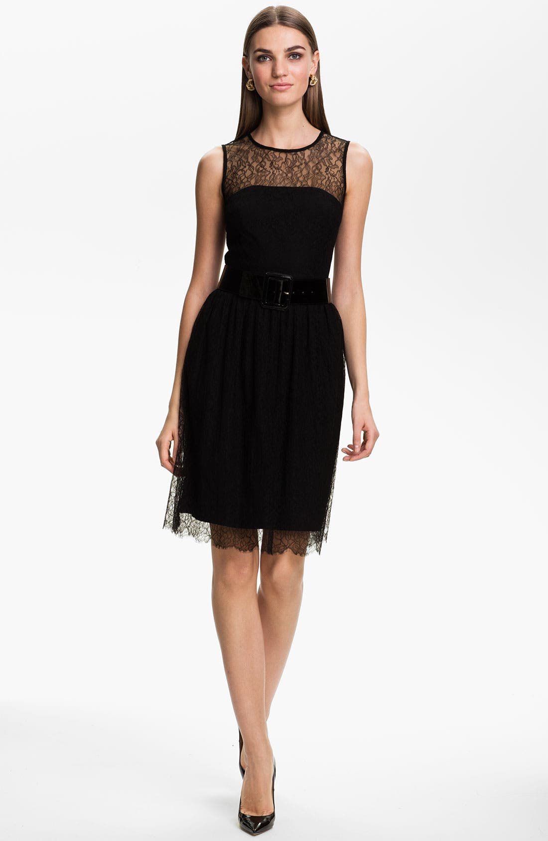 Alternate Image 1 Selected - St. John Collection Sleeveless Chantilly Lace Dress
