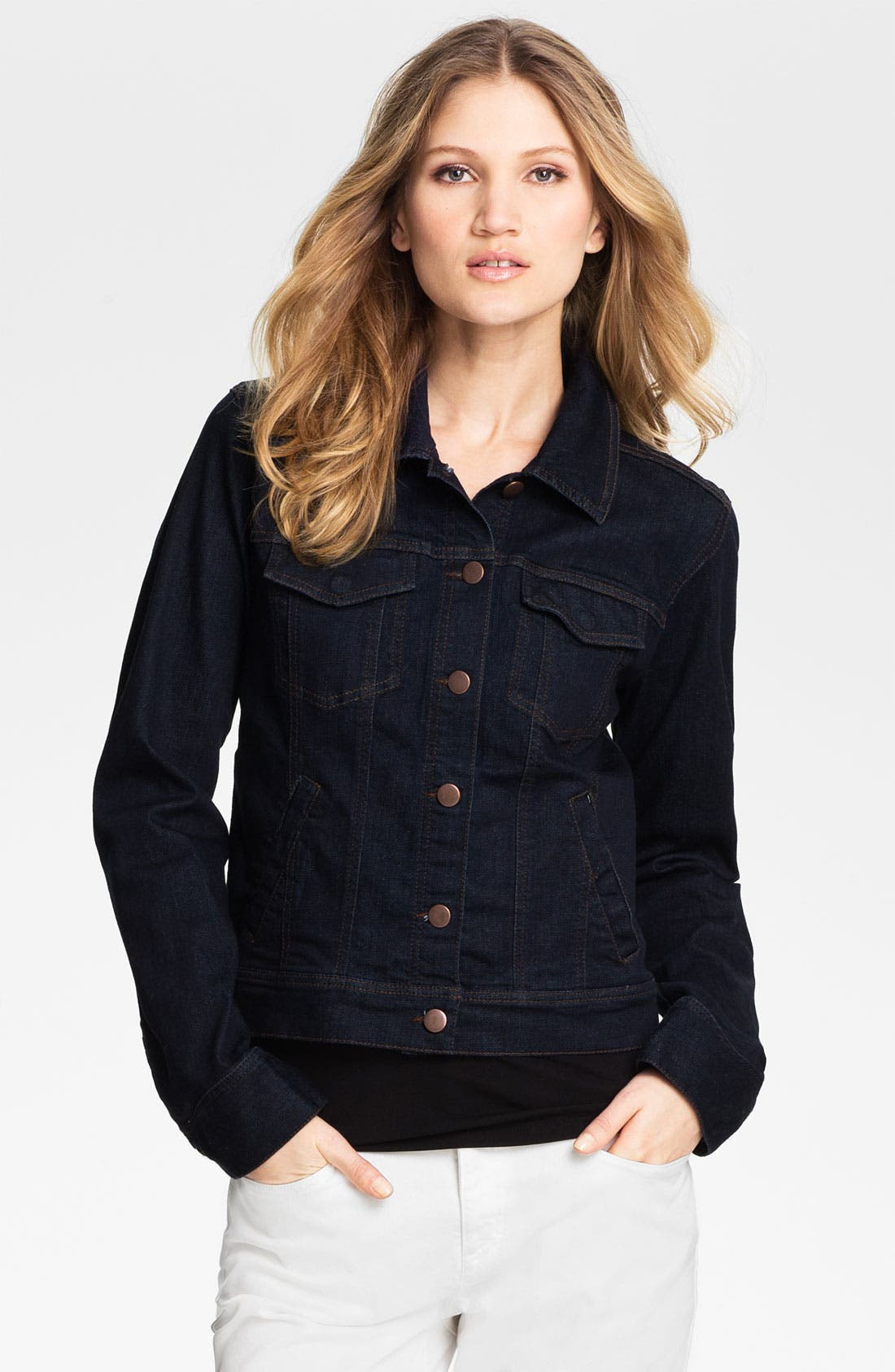 Organic Cotton Blend Denim Jacket,                             Main thumbnail 1, color,                             Indigo