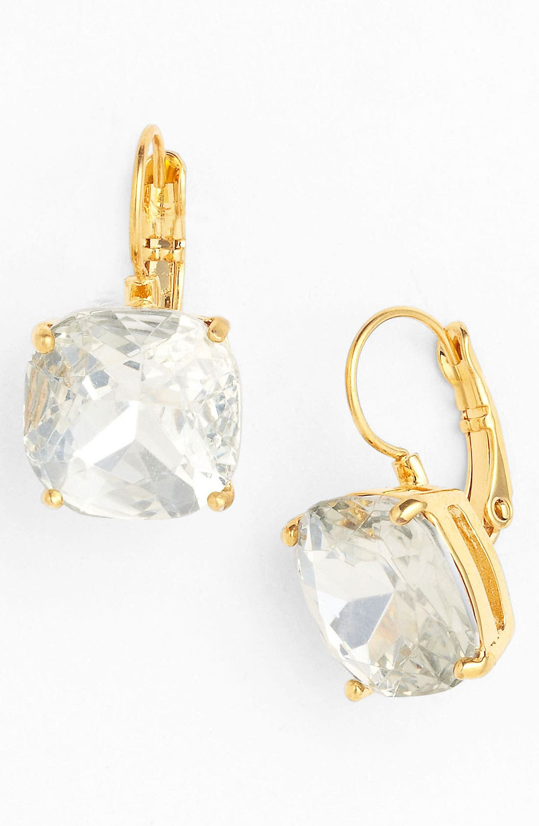 boxed drop earrings,                             Main thumbnail 1, color,                             Clear Crystal/ Gold