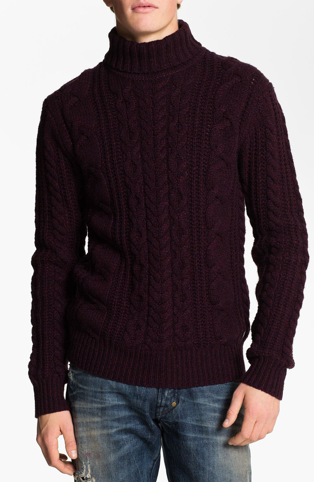 Main Image - PLECTRUM by Ben Sherman Cable Knit Turtleneck Sweater