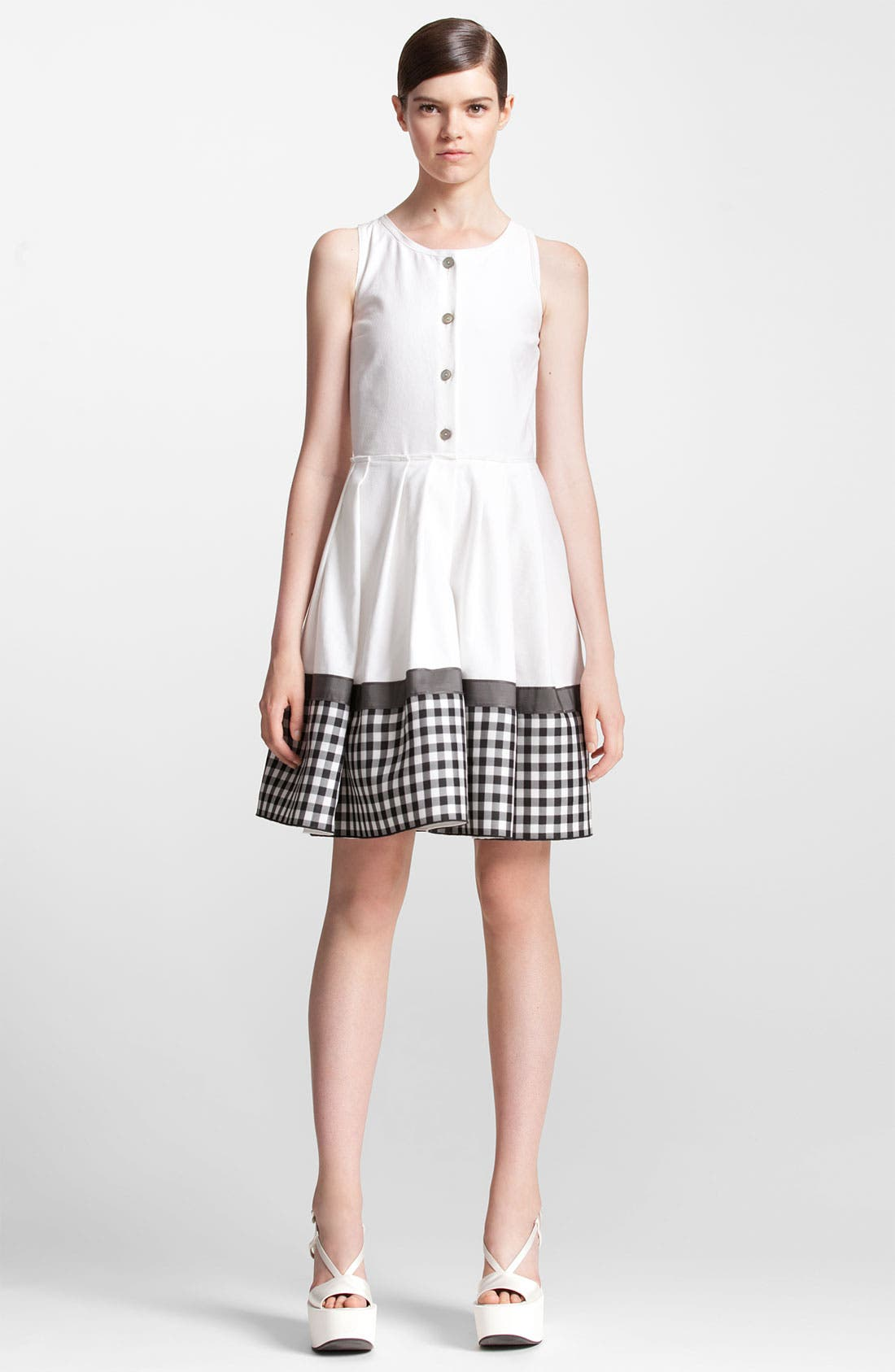 Alternate Image 1 Selected - Jil Sander Navy Check Print Cotton Piqué Shirtdress