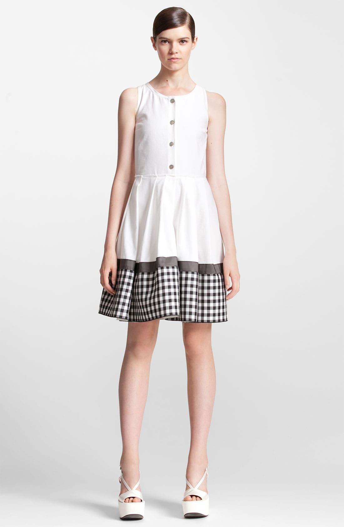 Main Image - Jil Sander Navy Check Print Cotton Piqué Shirtdress