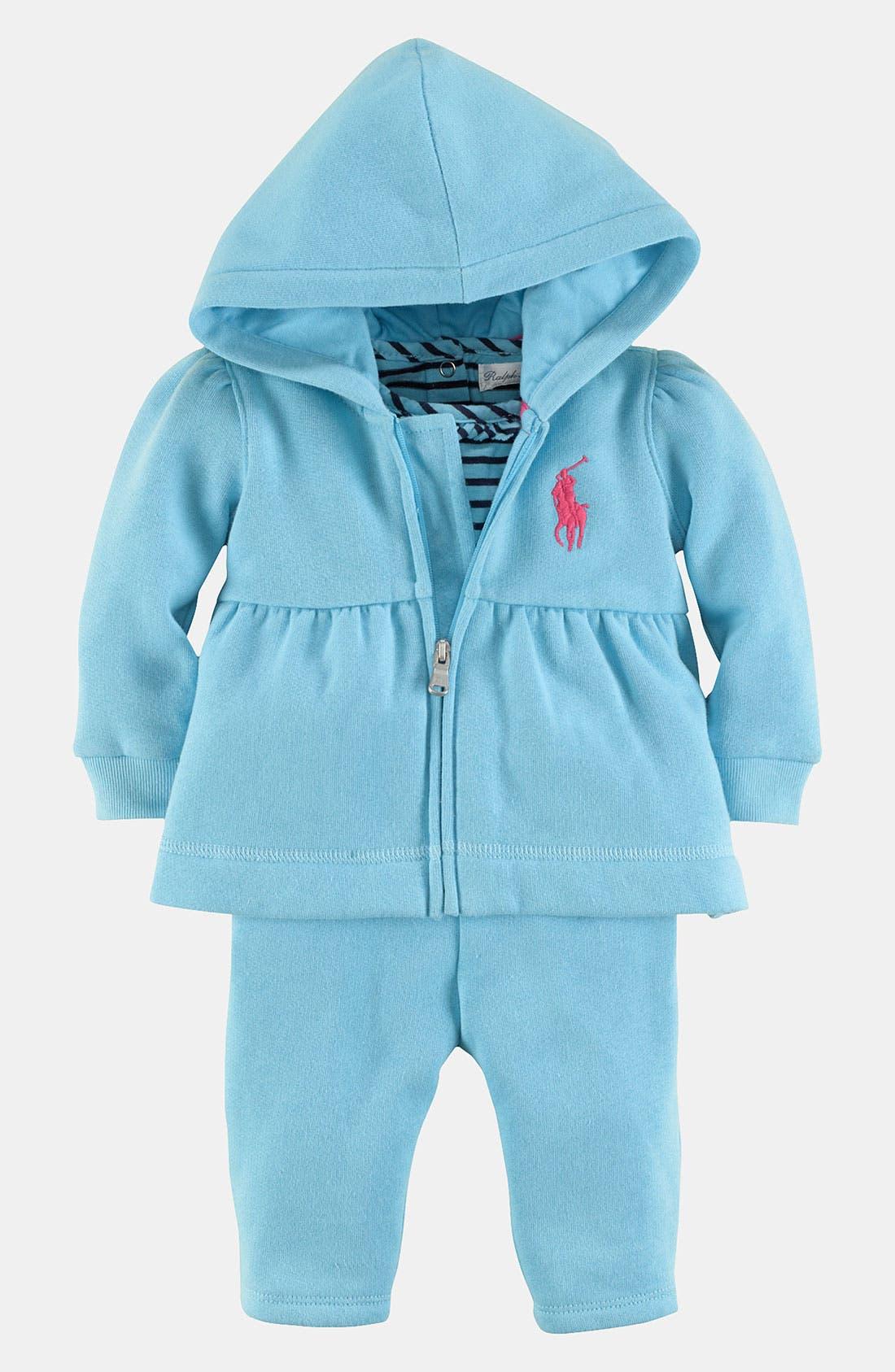 Main Image - Ralph Lauren Fleece Hoodie, Bodysuit & Pants (Baby Girls)
