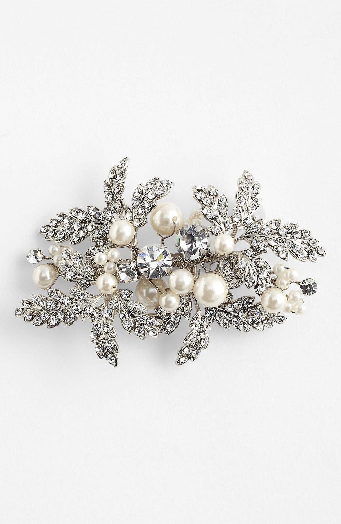 'Riley' Crystal & Faux Pearl Brooch,                             Main thumbnail 1, color,                             Silver/ Clear/ White Pearl