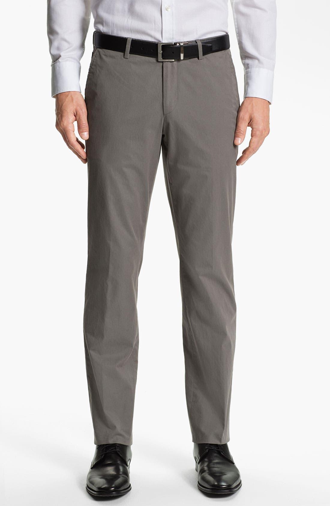 Main Image - BOSS Black 'Sharp' Flat Front Cotton Trousers