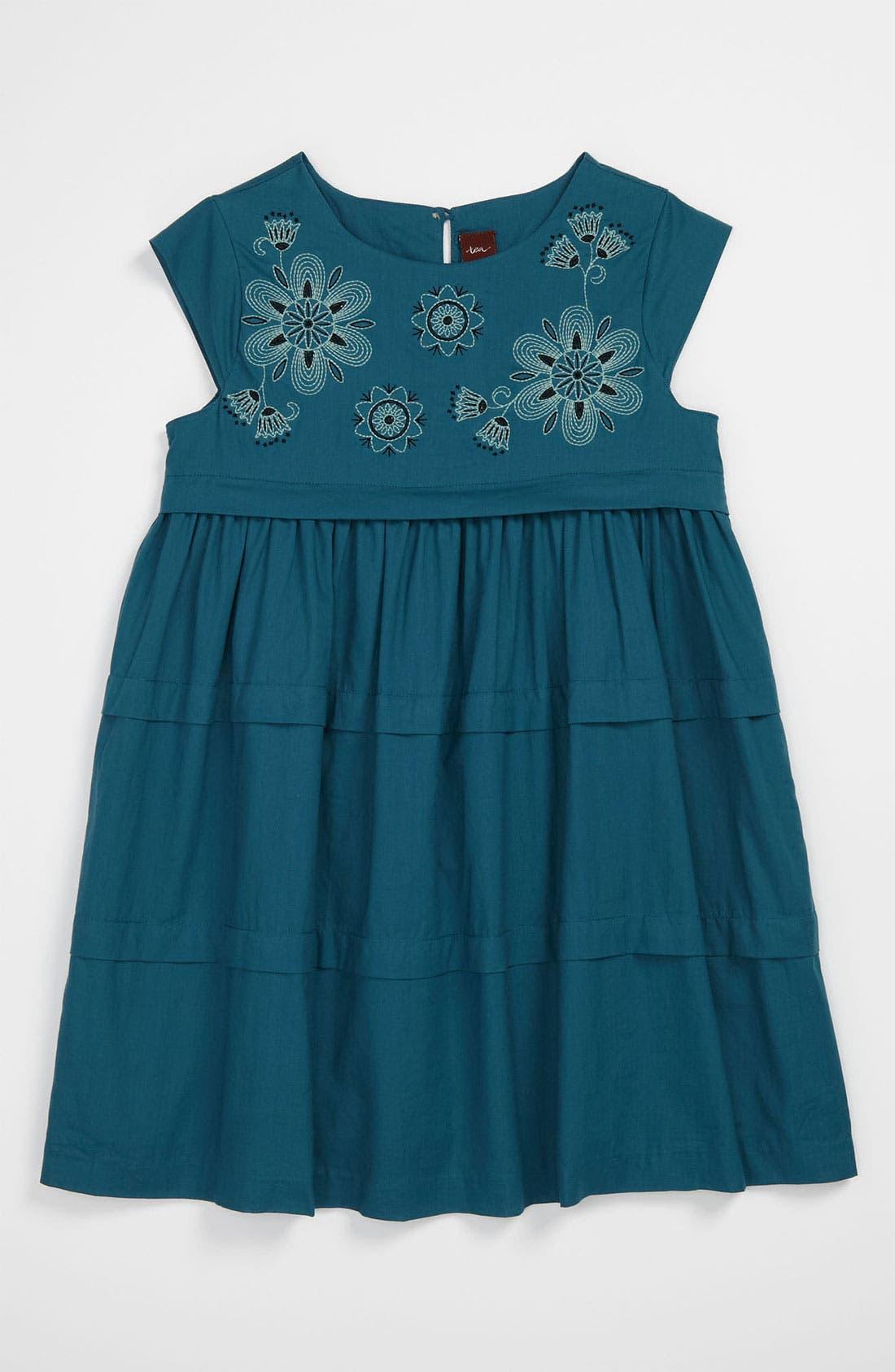 Main Image - Tea Collection Needlepoint Floral Dress (Little Girls & Big Girls)