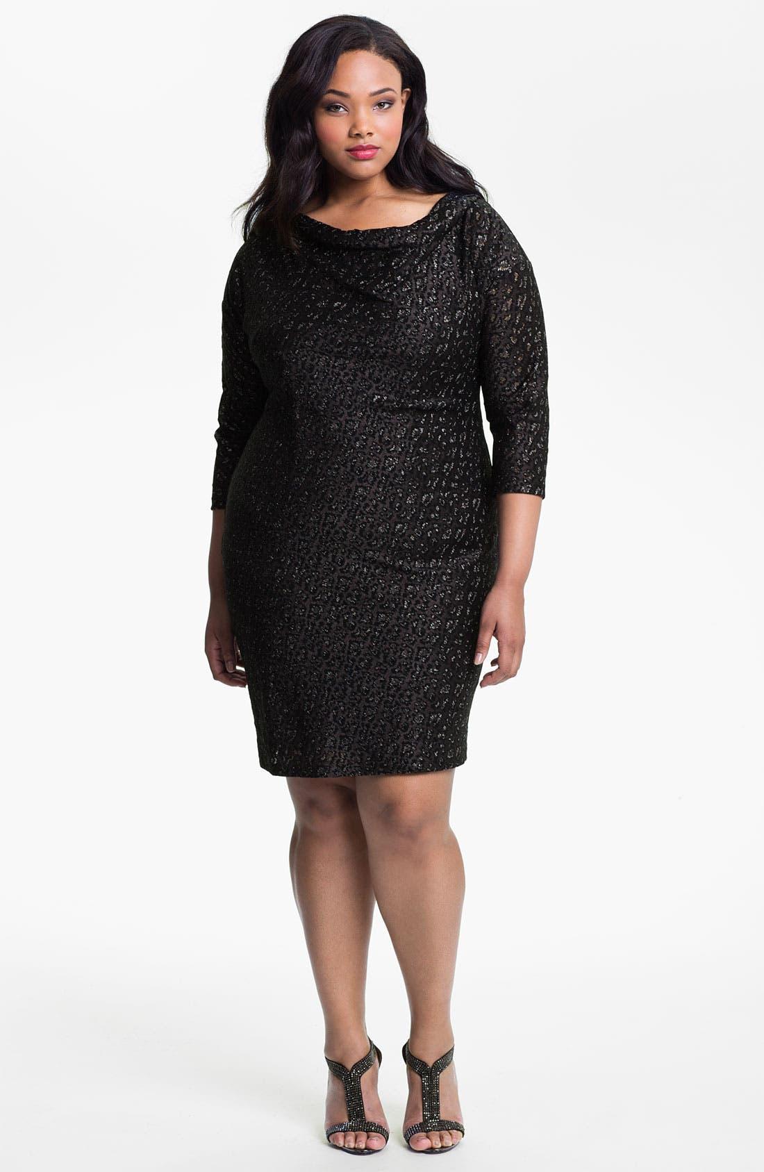 Main Image - Adrianna Papell Cowl Neck Metallic Jacquard Dress