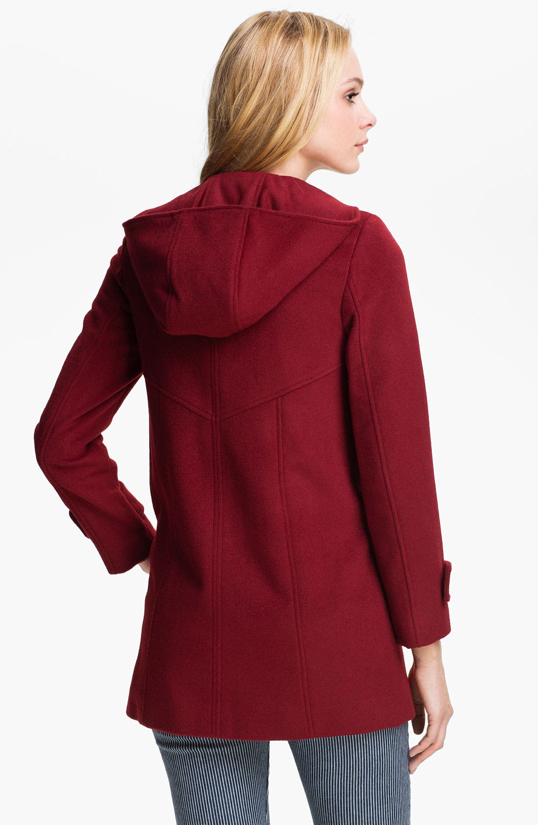 Alternate Image 2  - Ellen Tracy Hooded Wool Blend Coat (Petite)