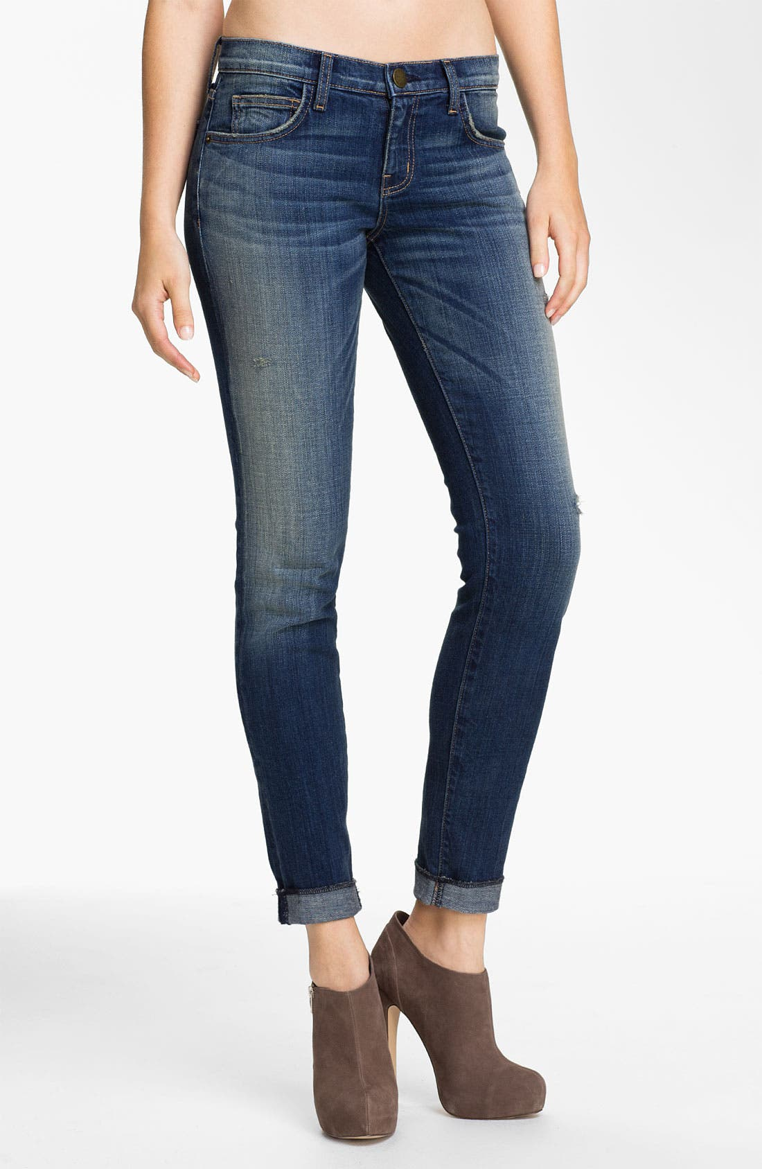 Main Image - Current/Elliott 'The Rolled' Stretch Jeans (Wager)
