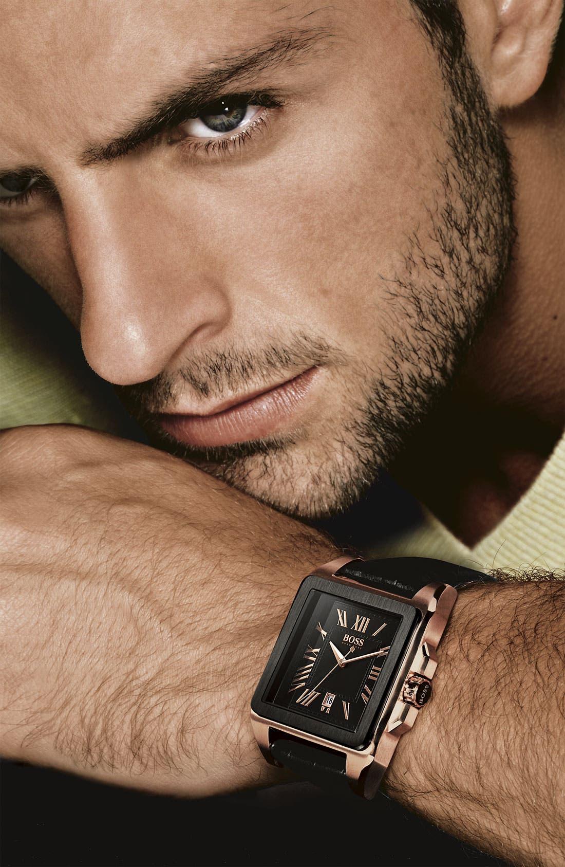 Alternate Image 2  - BOSS HUGO BOSS Square Case Leather Strap Watch, 40mm