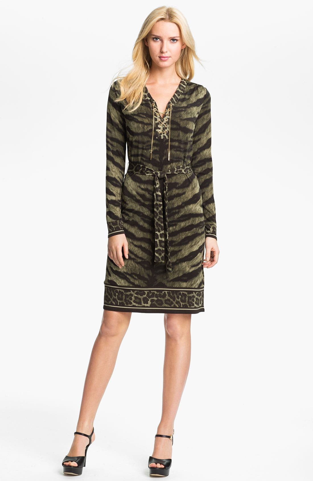 Main Image - MICHAEL Michael Kors Print Lace Up Dress