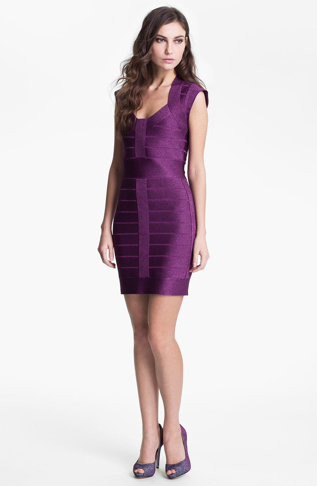 Main Image - French Connection 'Dani' Metallic Banded Sheath Dress