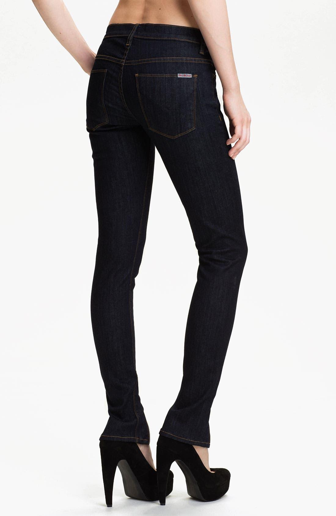 Alternate Image 2  - Hudson Jeans 'Juliette' Ankle Zip Super Skinny Jeans (Rinse)