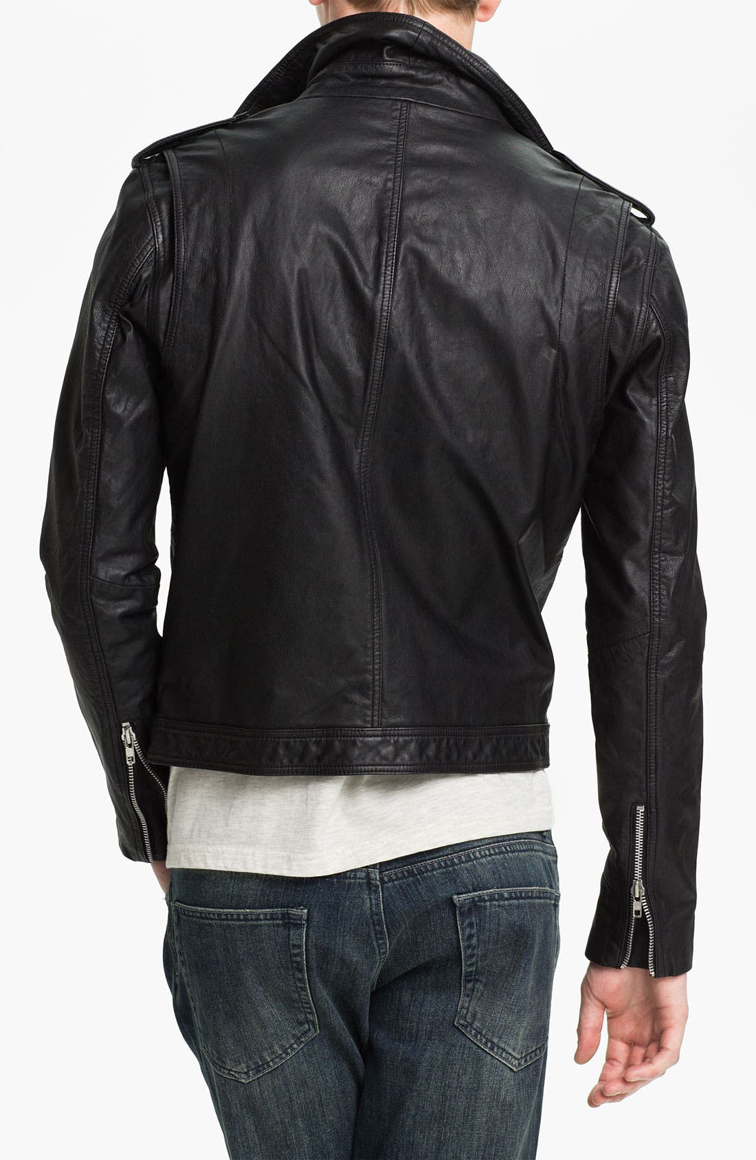 Alternate Image 2  - Topman Leather Biker Jacket
