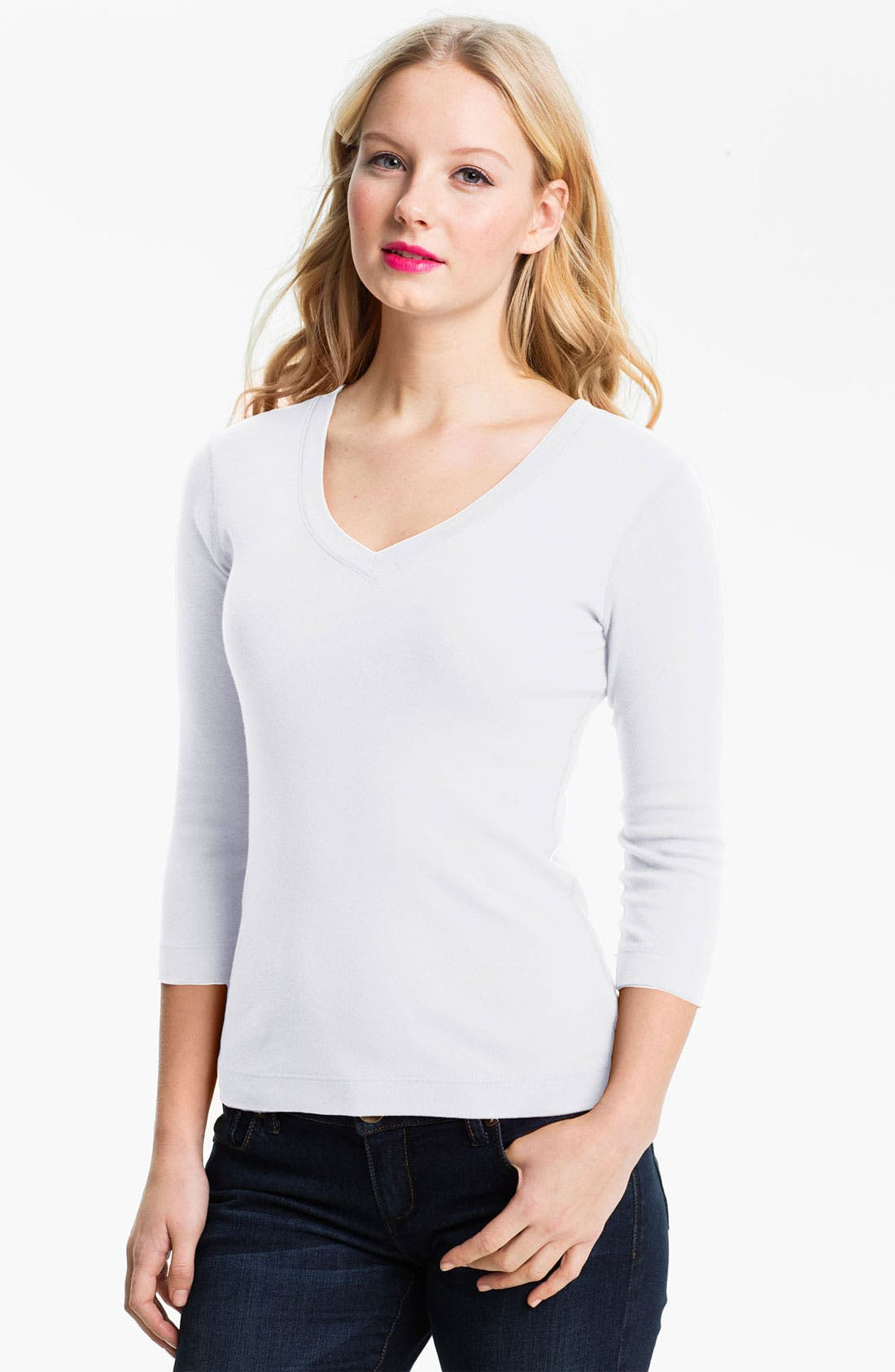 Alternate Image 1 Selected - Three Dots Deep V-Neck Three Quarter Sleeve Tee (Online Exclusive)