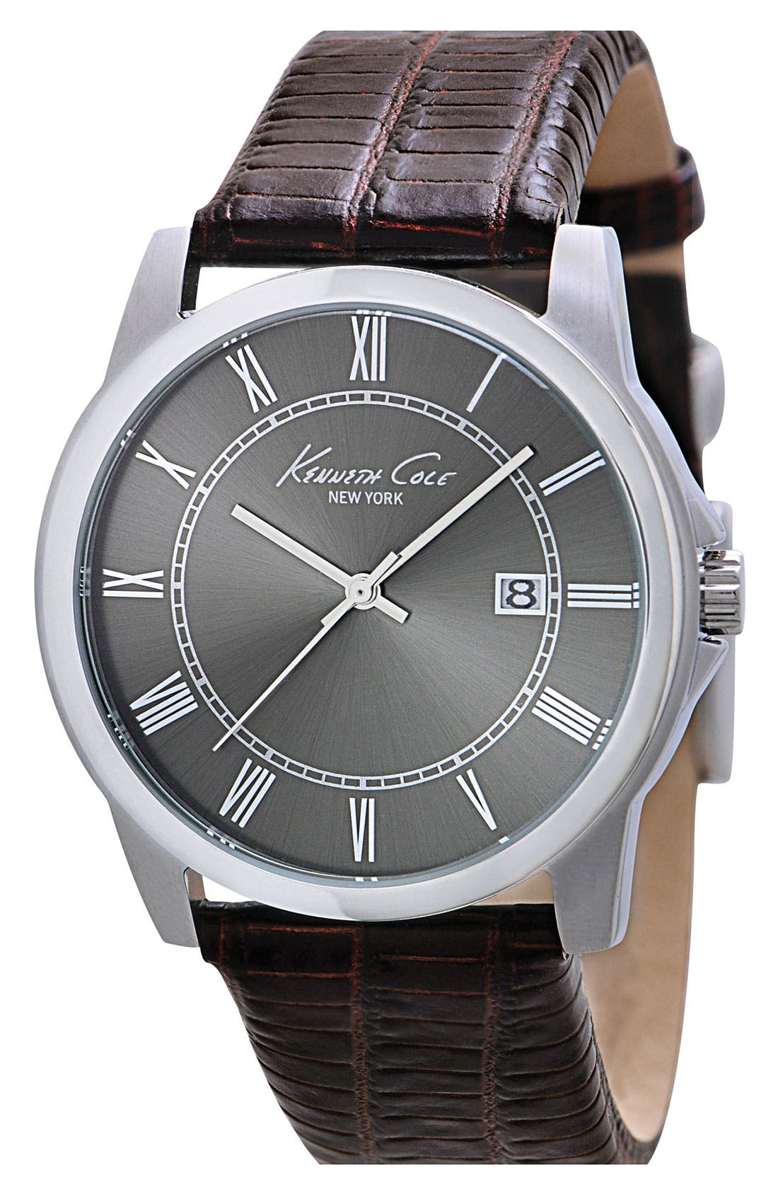 Alternate Image 1 Selected - Kenneth Cole New York Slim Leather Strap Watch