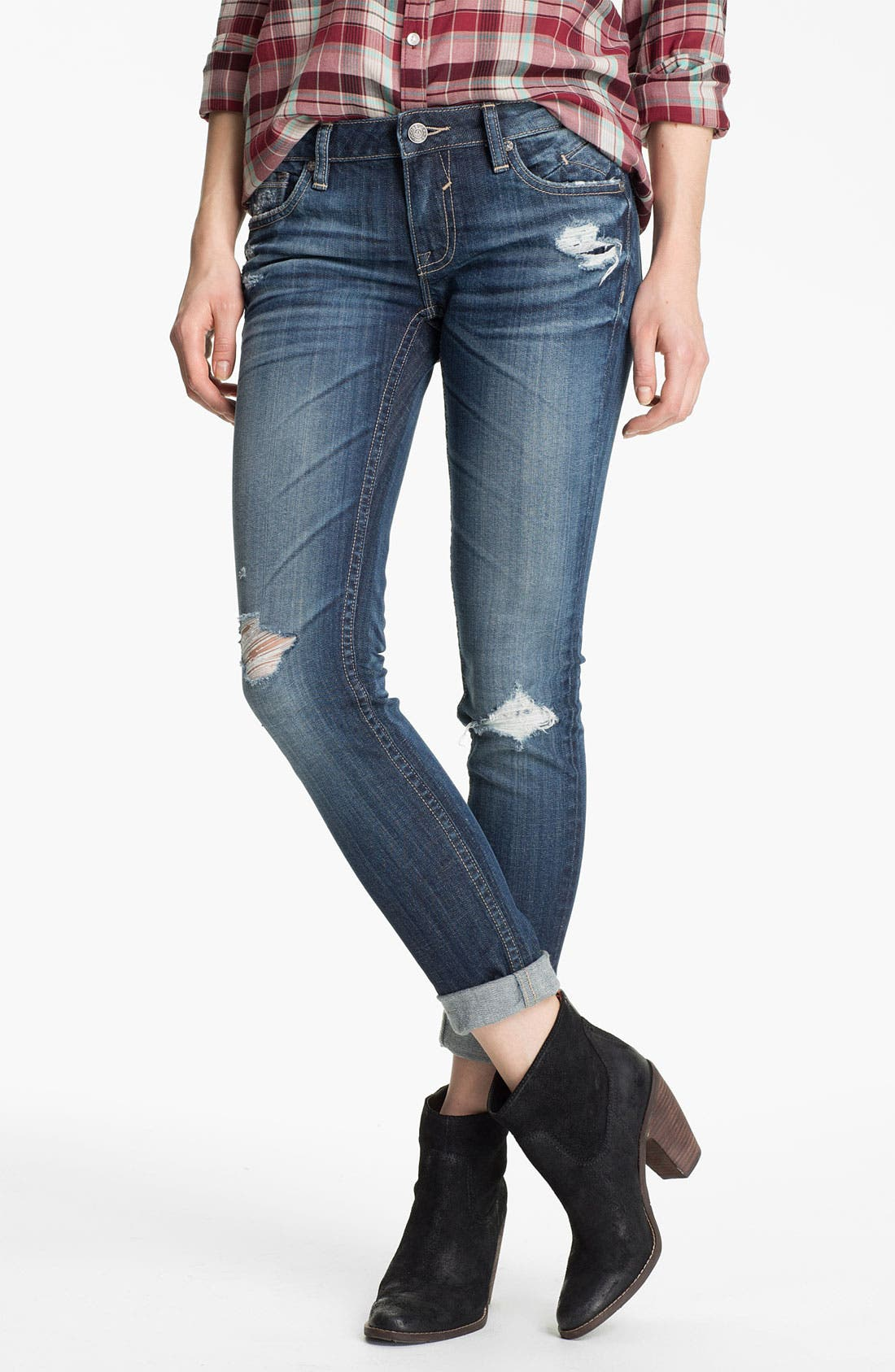 Alternate Image 1 Selected - Vigoss Destroyed Skinny Jeans (Juniors)