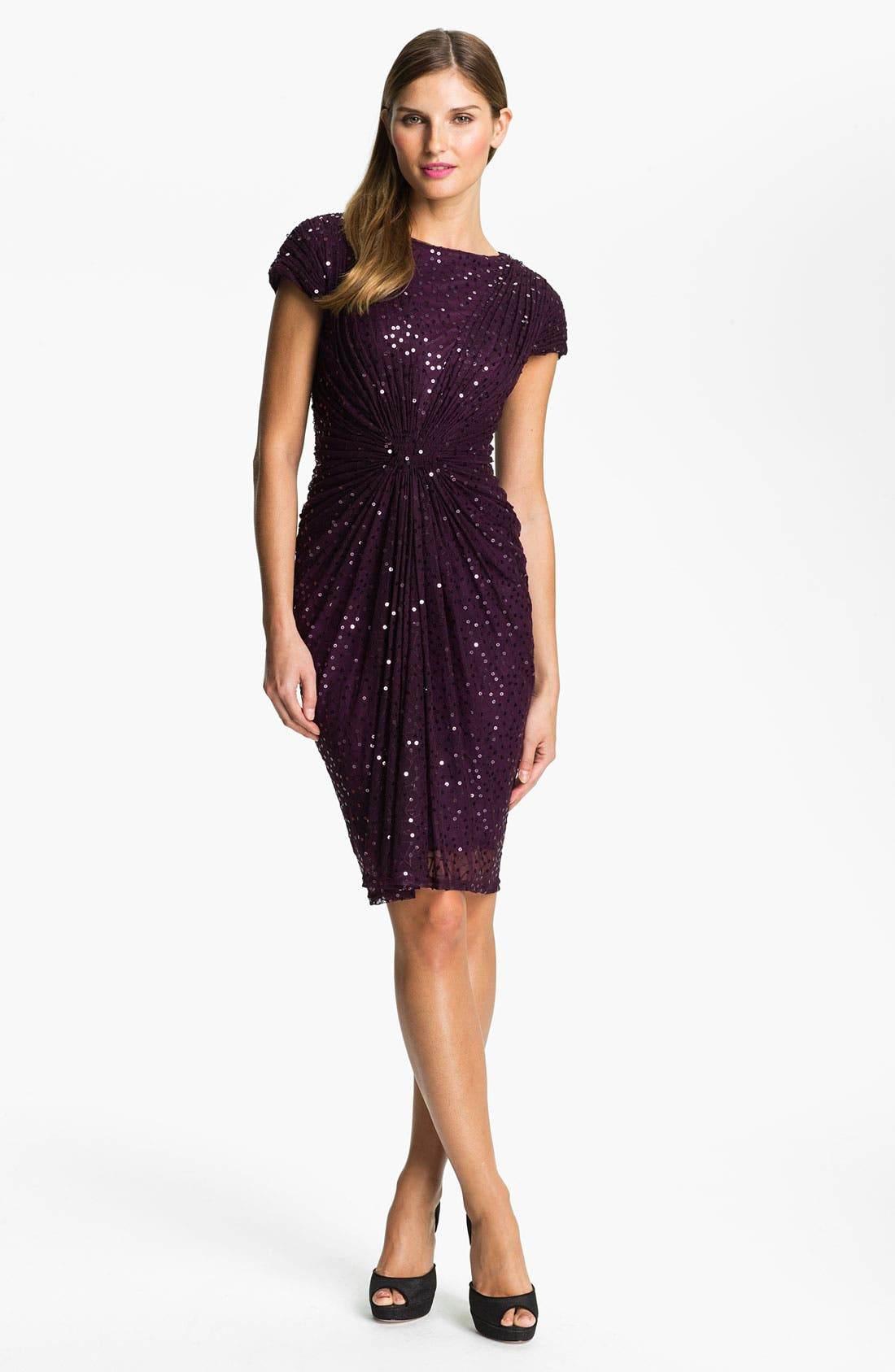 Alternate Image 1 Selected - Tadashi Shoji Gathered Sequin Mesh Dress