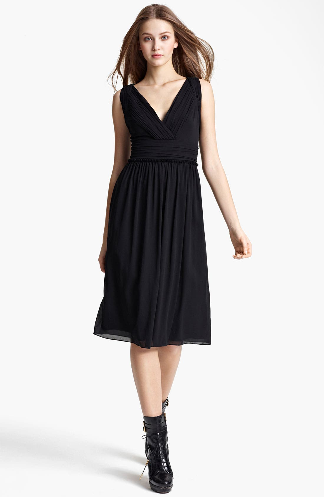Main Image - Burberry London Pleat Crepe Dress