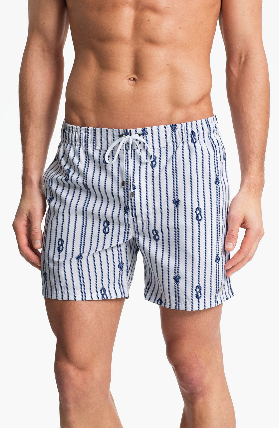 'Nautical - Hampton' Swim Trunks,                         Main,                         color, White