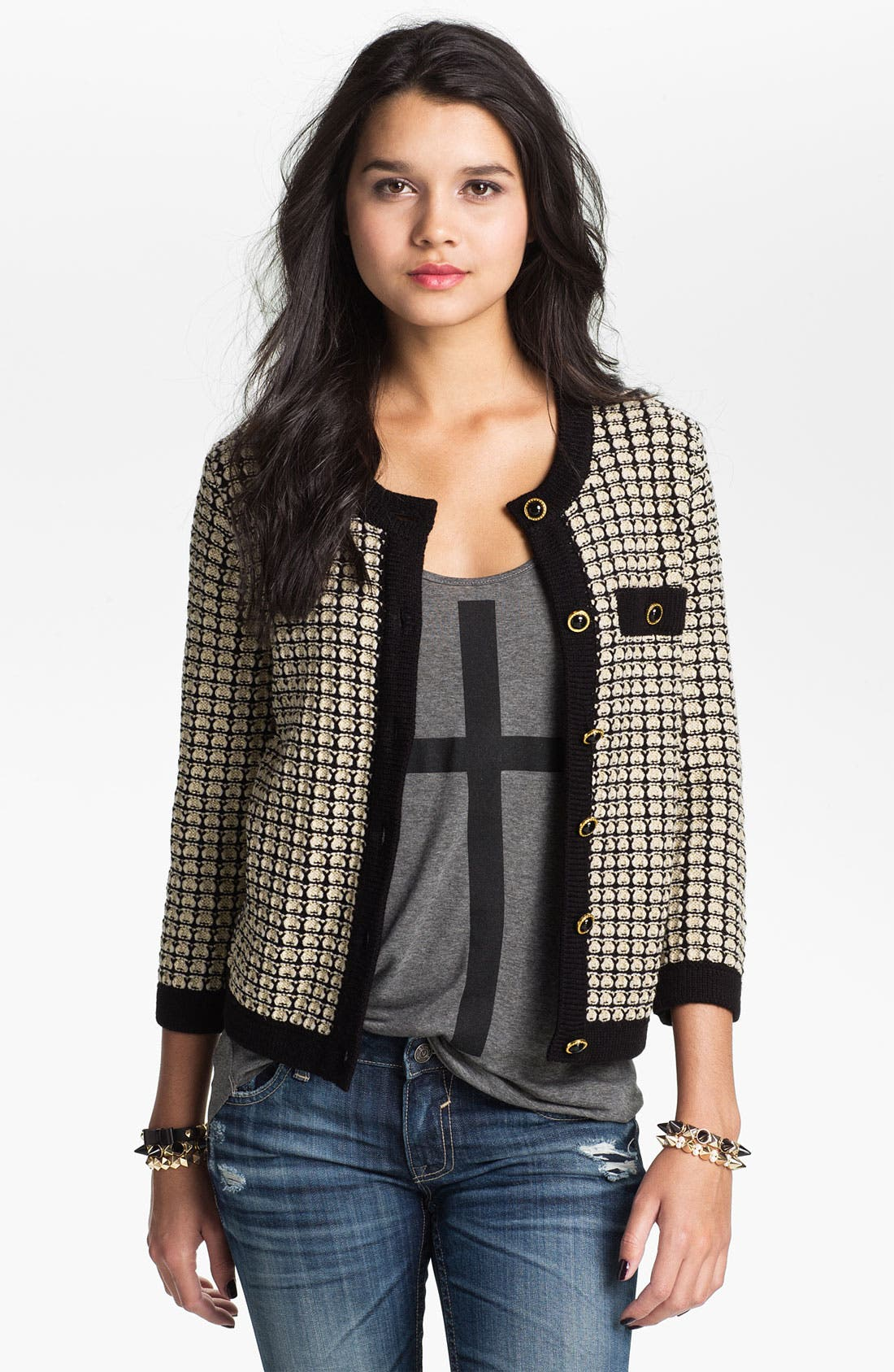 Alternate Image 1 Selected - Love by Design Jacquard Cardigan (Juniors)