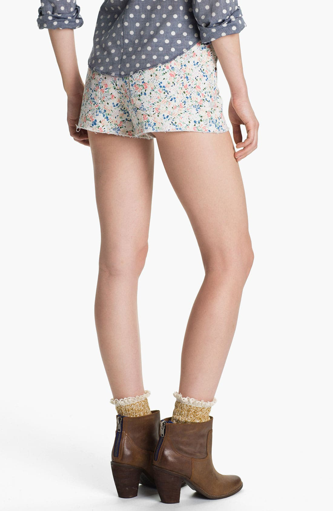 Alternate Image 2  - Fire Floral Print Cutoff Denim Shorts (Juniors)
