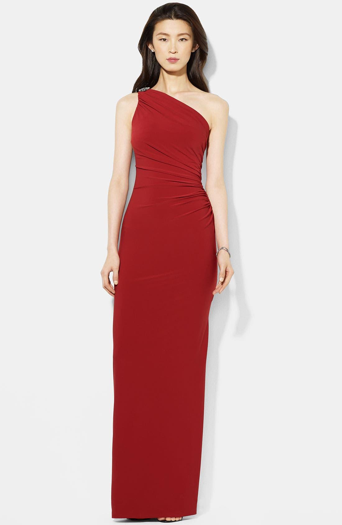 Main Image - Lauren Ralph Lauren One Shoulder Matte Jersey Gown