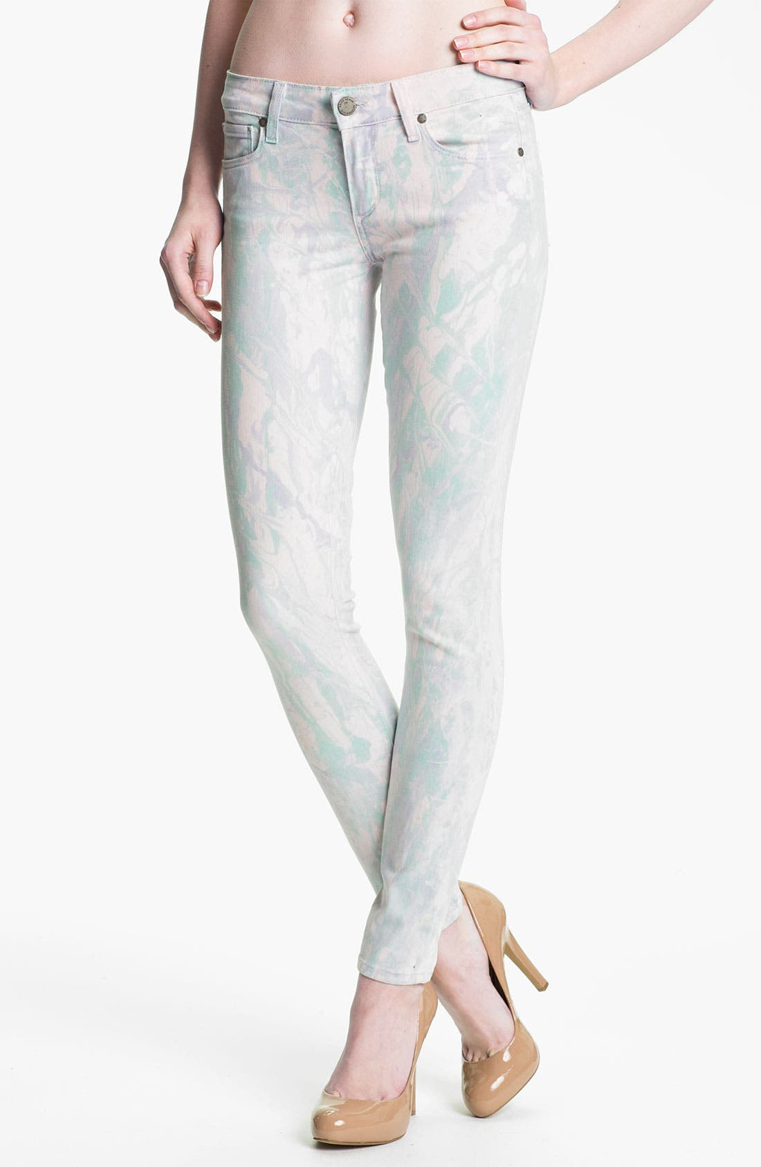 Main Image - Paige Denim 'Verdugo' Print Skinny Jeans (Candy)
