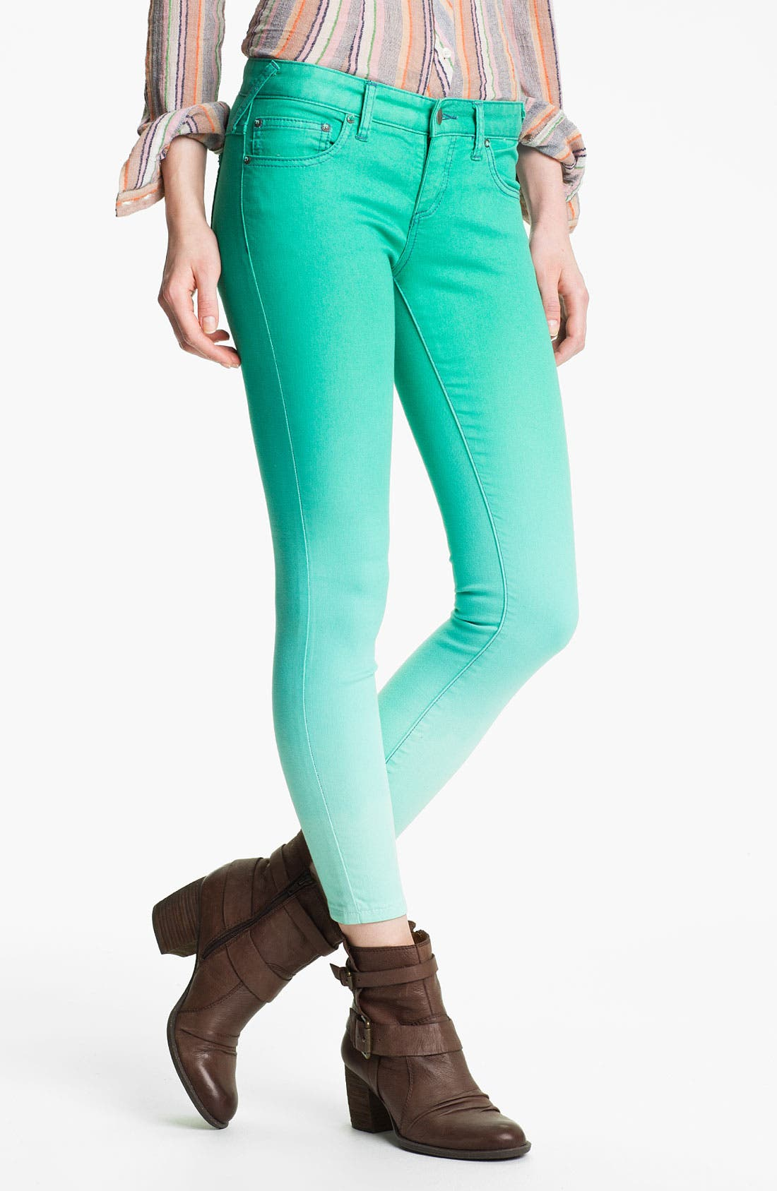 Alternate Image 1 Selected - Free People Ombré Skinny Jeans (Graphite)
