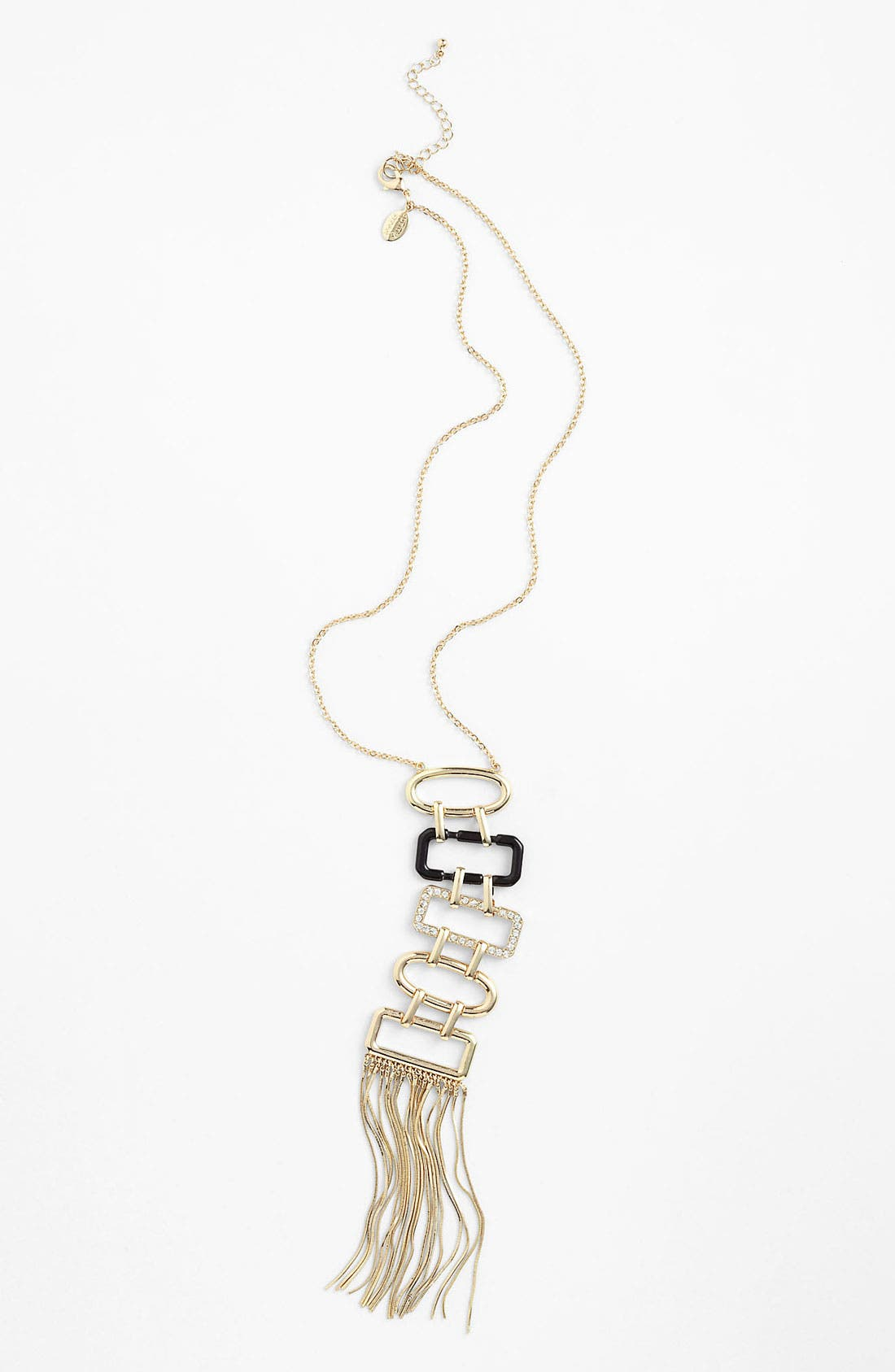 Long Tassel Pendant Necklace,                             Main thumbnail 1, color,                             Gold With Black