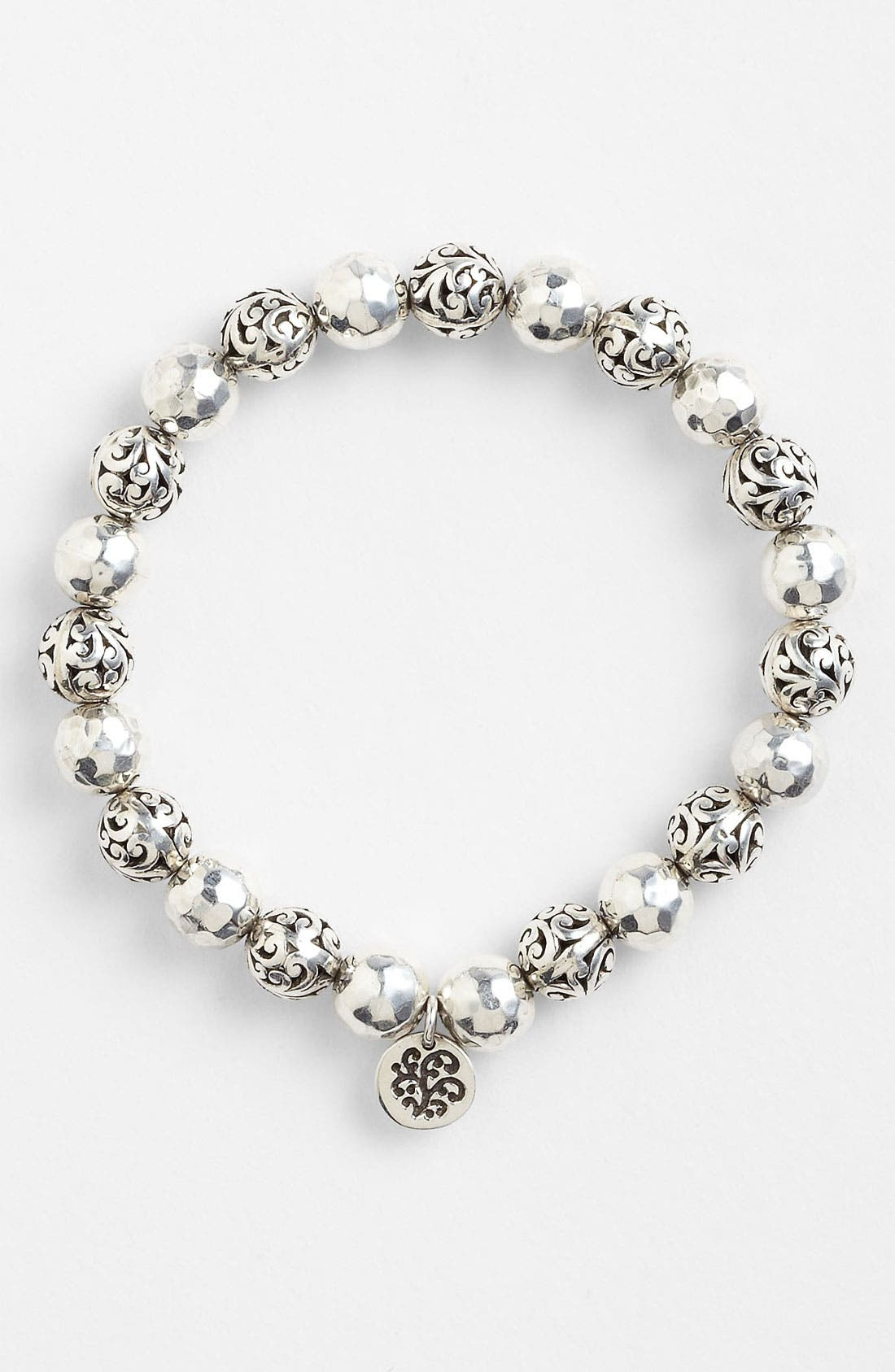 'Classics' Bead Stretch Bracelet,                         Main,                         color, Sterling Silver