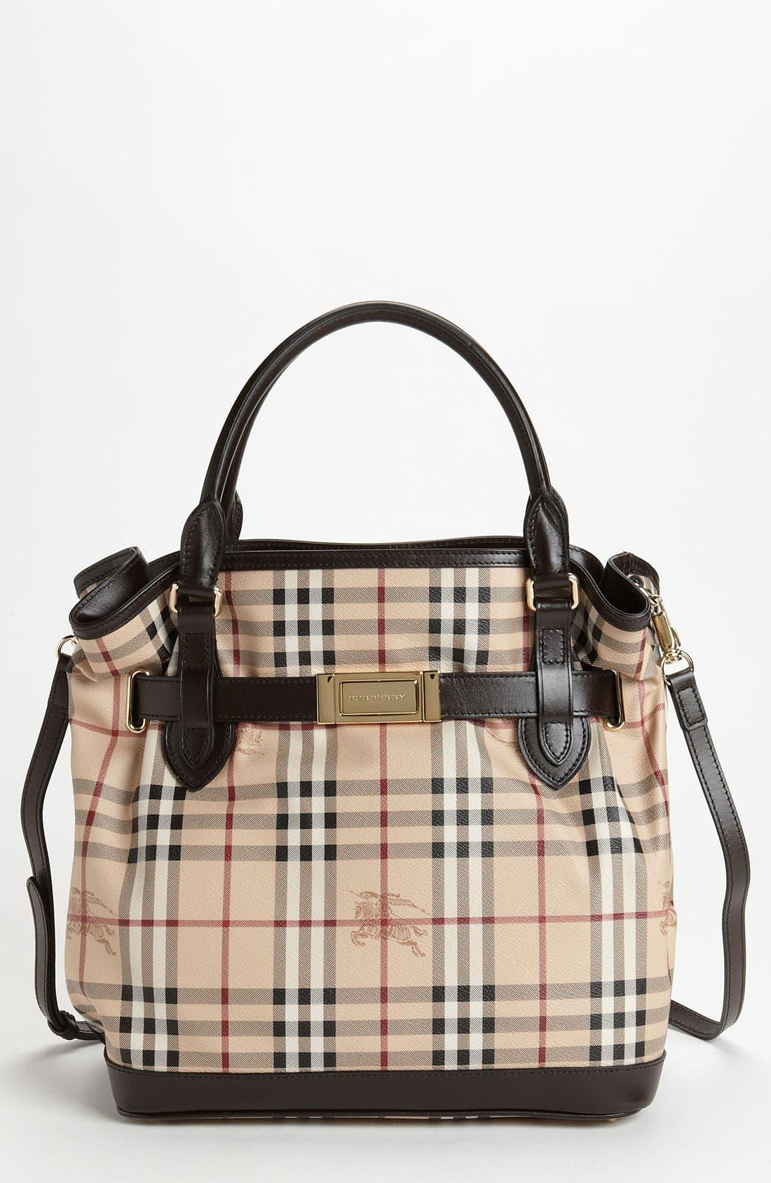 Alternate Image 1 Selected - Burberry Belted Check Print Shoulder Bag
