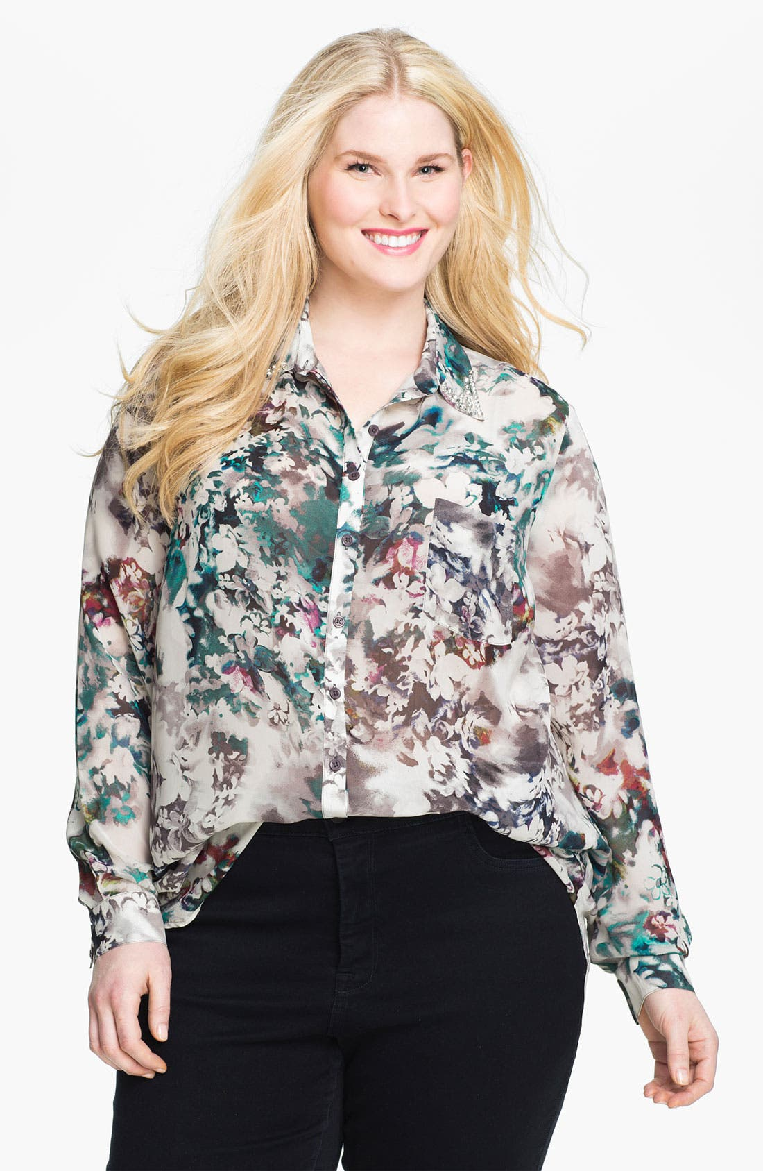 Main Image - Bellatrix Beaded Collar Blouse (Plus)