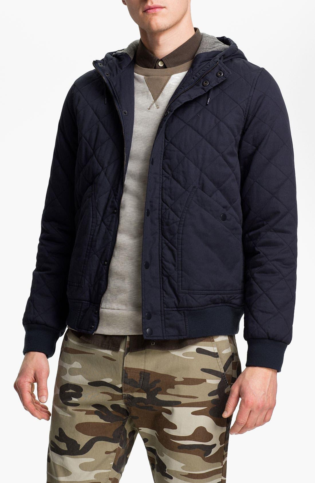 Alternate Image 1 Selected - Topman Quilted Hooded Bomber Jacket