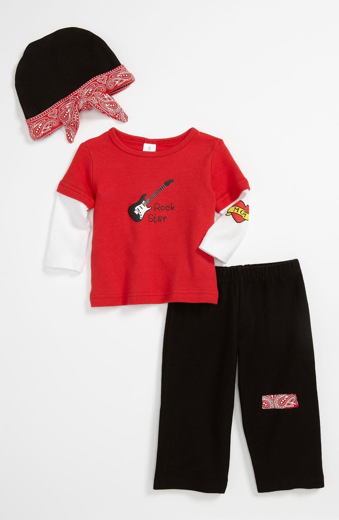 Alternate Image 1 Selected - Baby Aspen 'Baby Rockstar' Shirt, Pants & Hat (Baby)