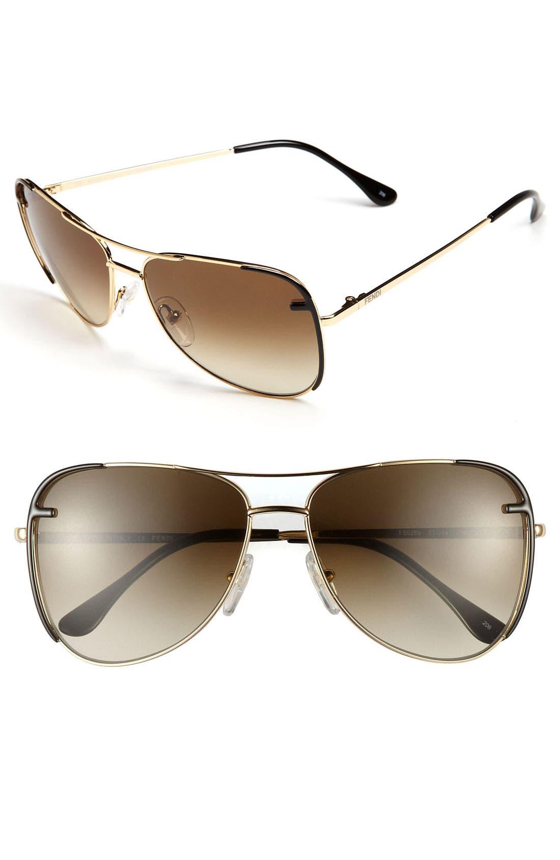 Main Image - Fendi 57mm Metal Aviator Sunglasses
