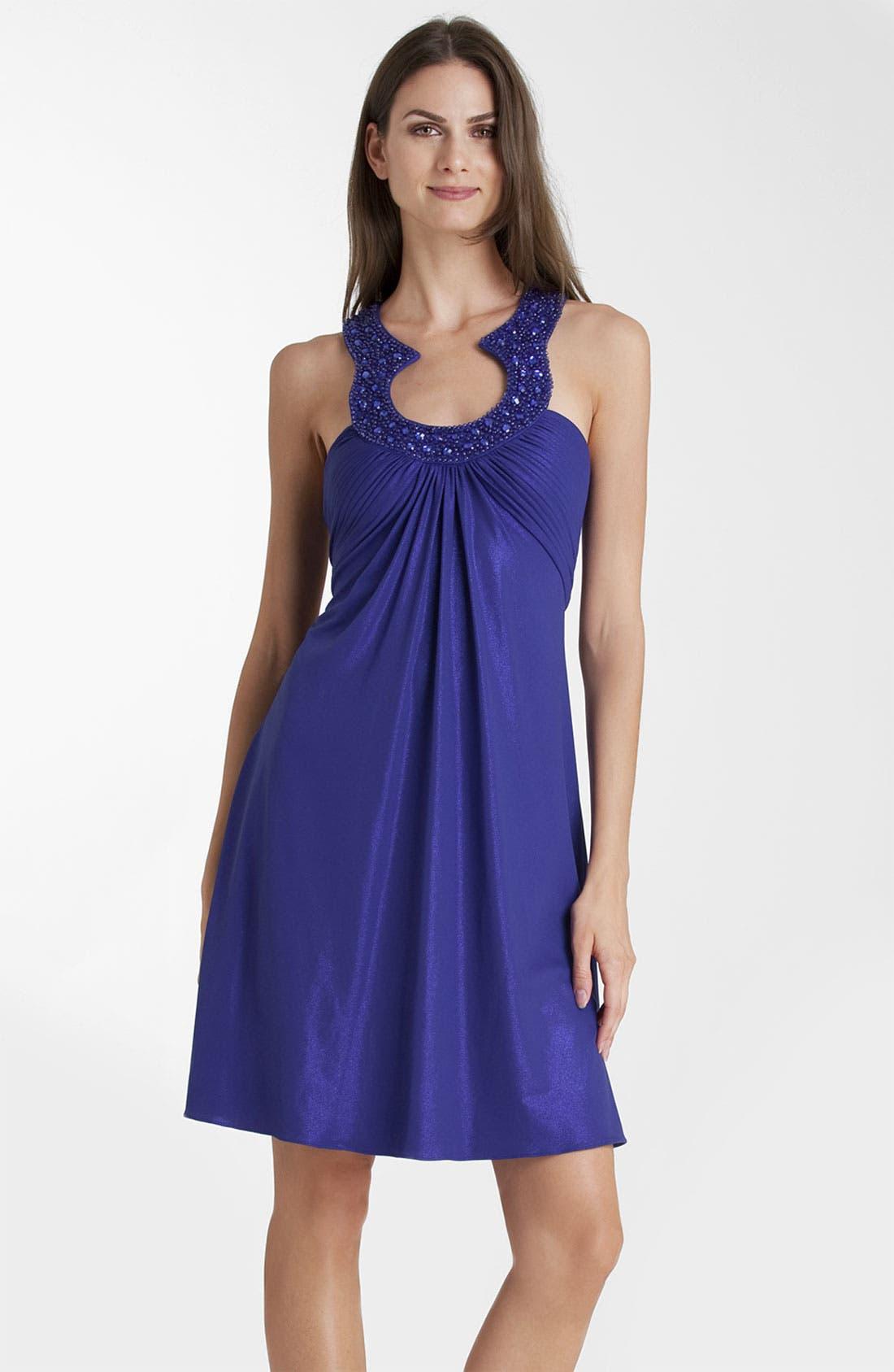 Main Image - JS Boutique Beaded Collar Shift Dress (Petite)