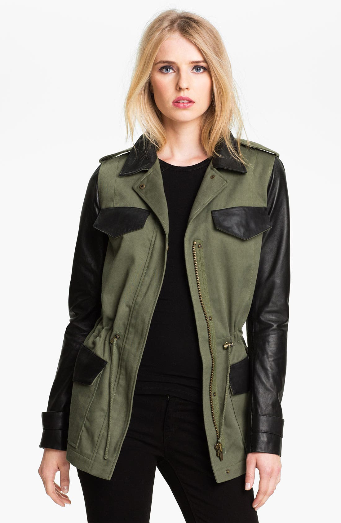 Alternate Image 1 Selected - Veda 'Jones' Canvas & Leather Cargo Trench Coat