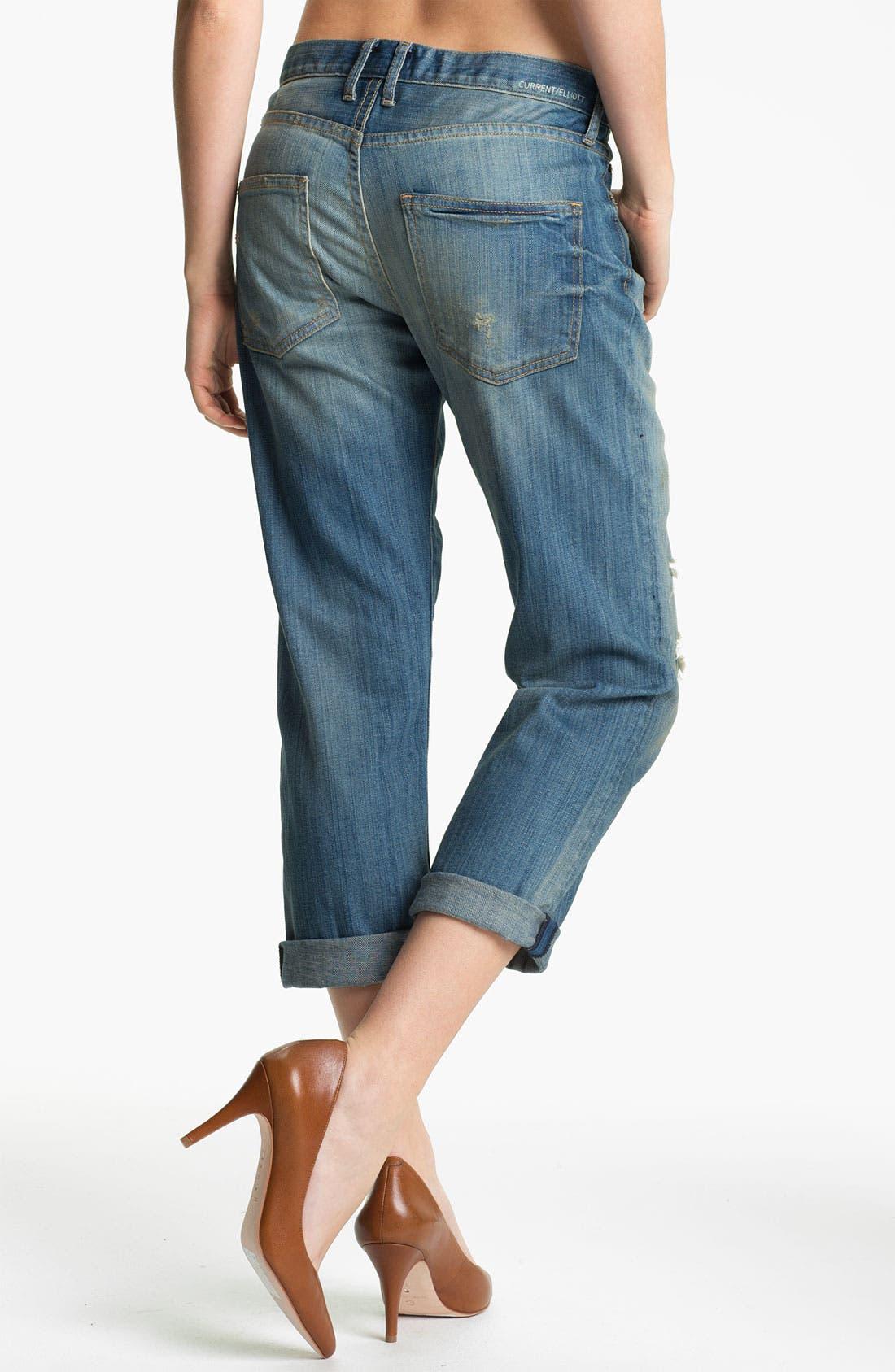 Alternate Image 2  - Current/Elliott 'The Boyfriend Jean' Stretch Jeans (Panhandle with Repair)
