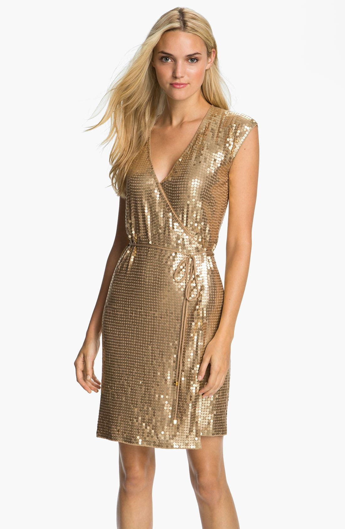 Alternate Image 1 Selected - MICHAEL Michael Kors Sequin Wrap Dress (Petite)