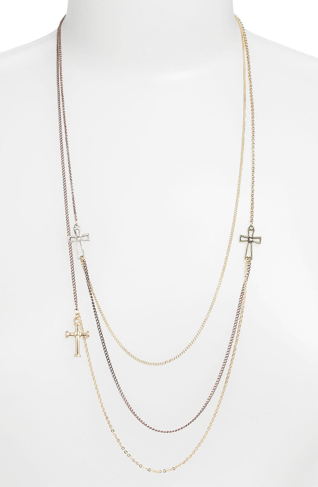 Main Image - Stephan & Co. Layered Cross Necklace