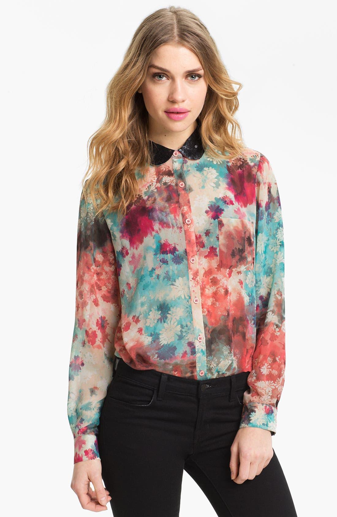 Alternate Image 1 Selected - Bellatrix Embellished Collar Print Chiffon Shirt