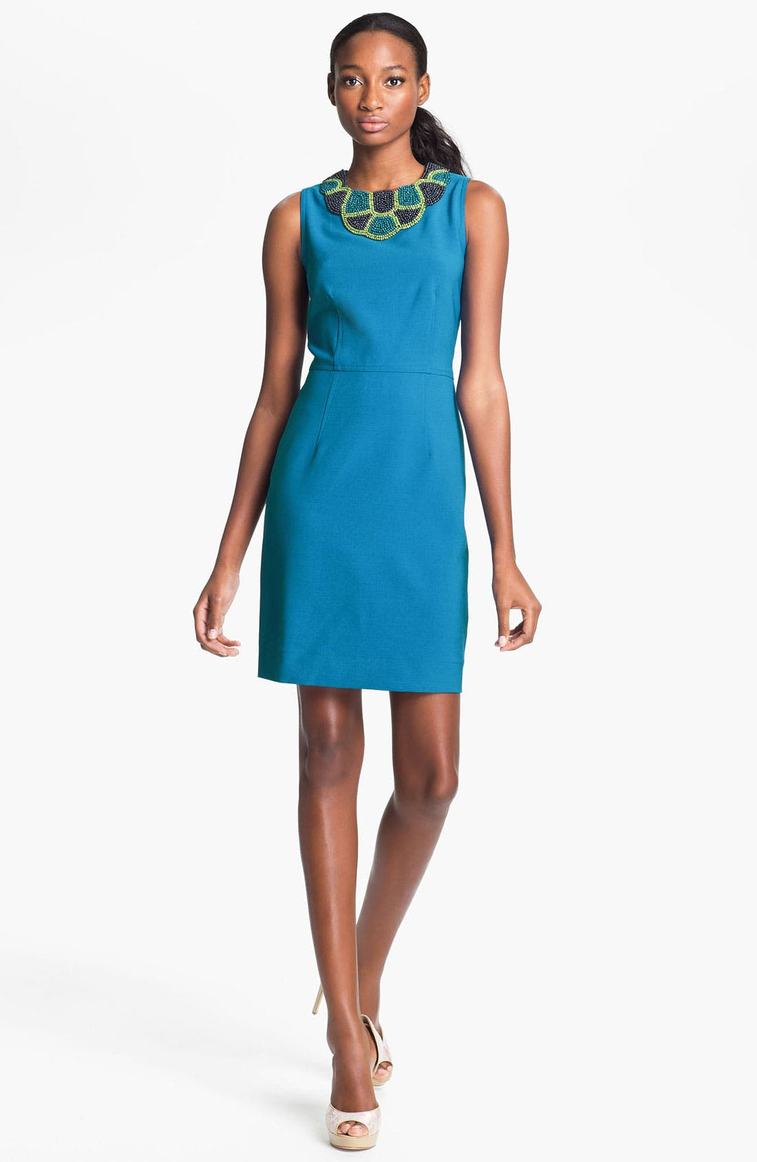 Main Image - Taylor Dresses Beaded Neck Crepe Sheath Dress