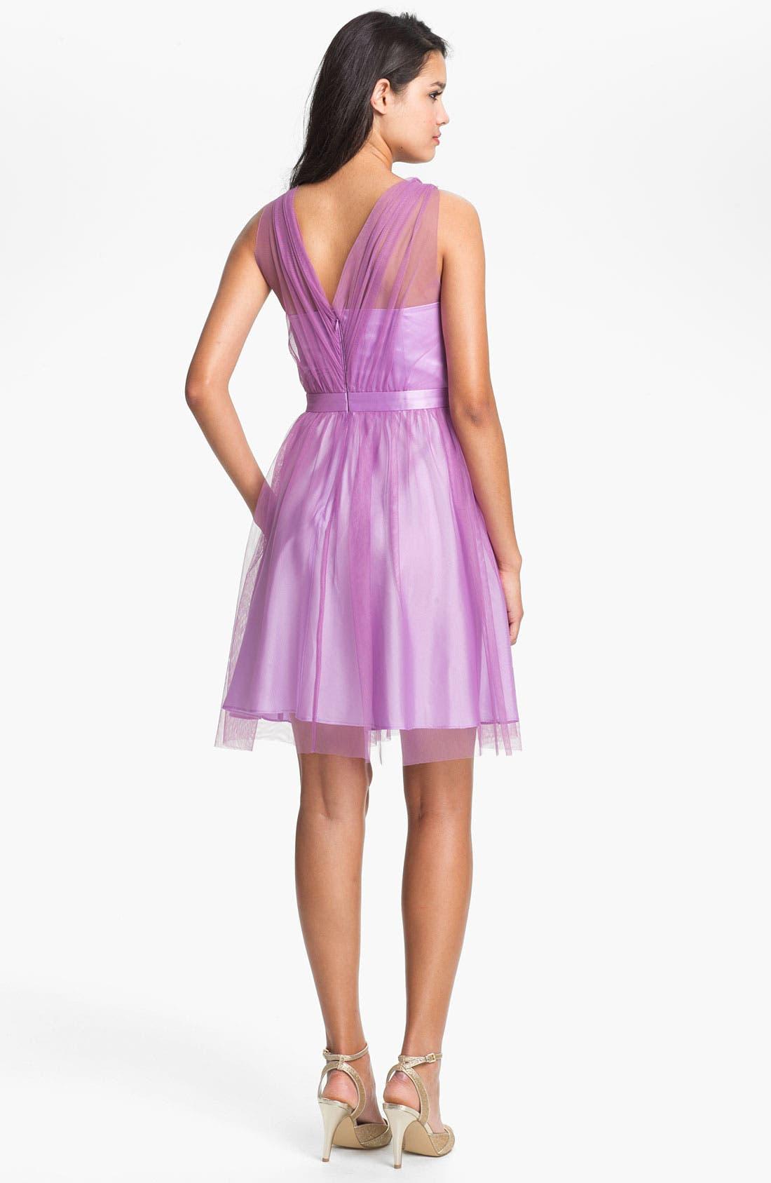 Alternate Image 2  - Donna Morgan 'Hazel' Surplice Tulle Dress