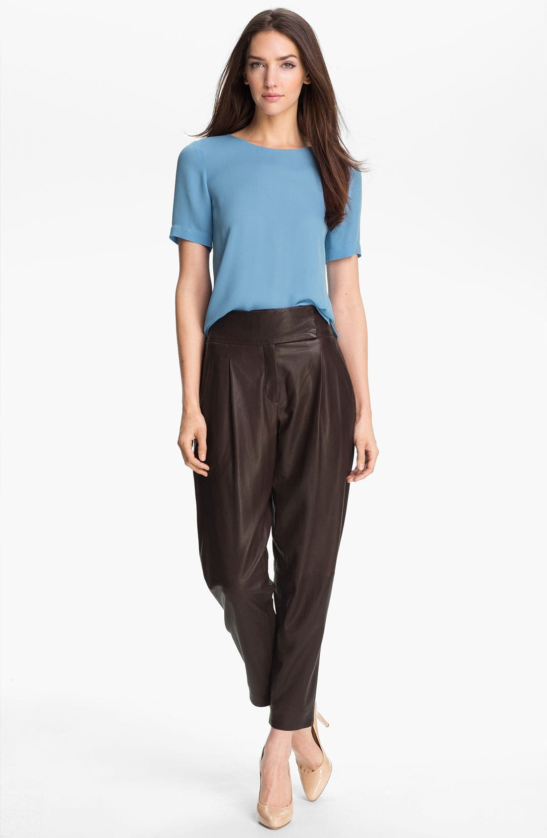 Alternate Image 4  - Theory 'Kina L.' Tapered Leather Pants