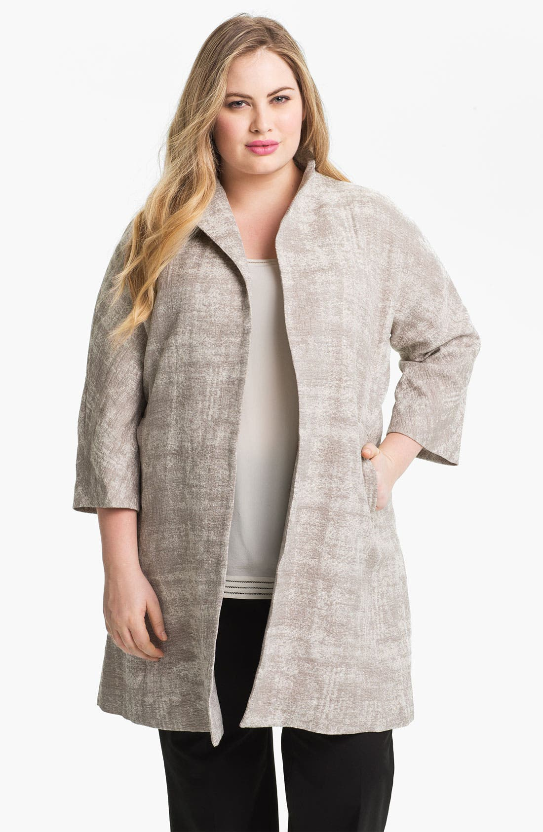 Main Image - Eileen Fisher Funnel Neck A-Line Coat (Plus)