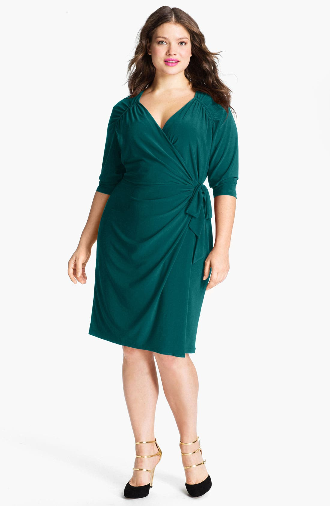 Main Image - Suzi Chin for Maggy Boutique Jersey Faux Wrap Dress (Plus)