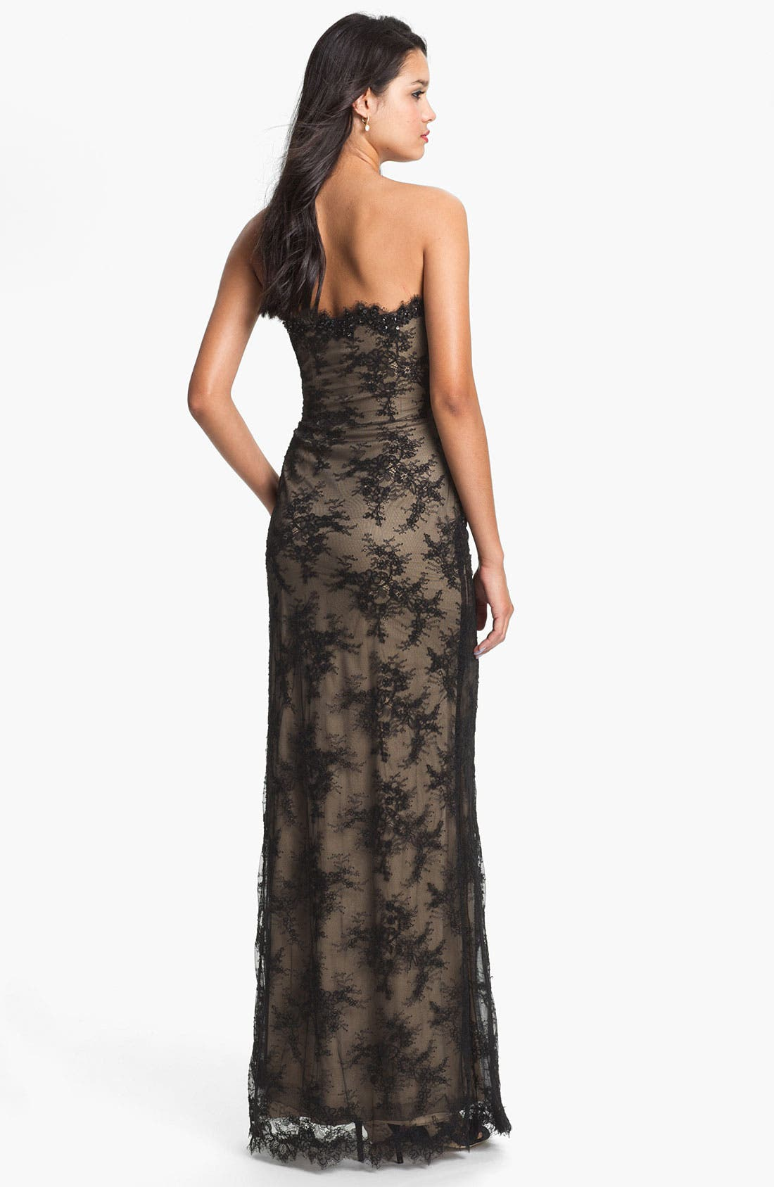 Alternate Image 2  - La Femme Strapless Lace Overlay Column Gown